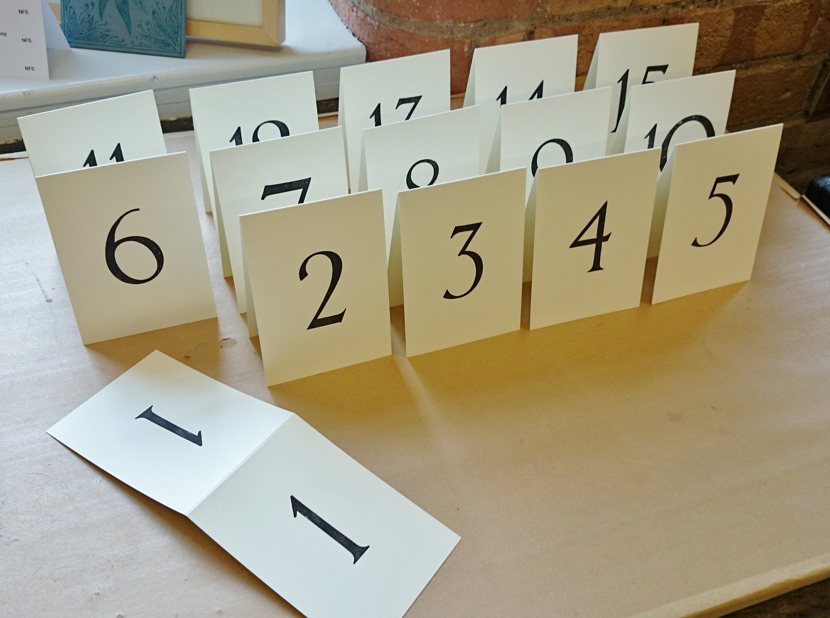 A6 Folded Table Numbers