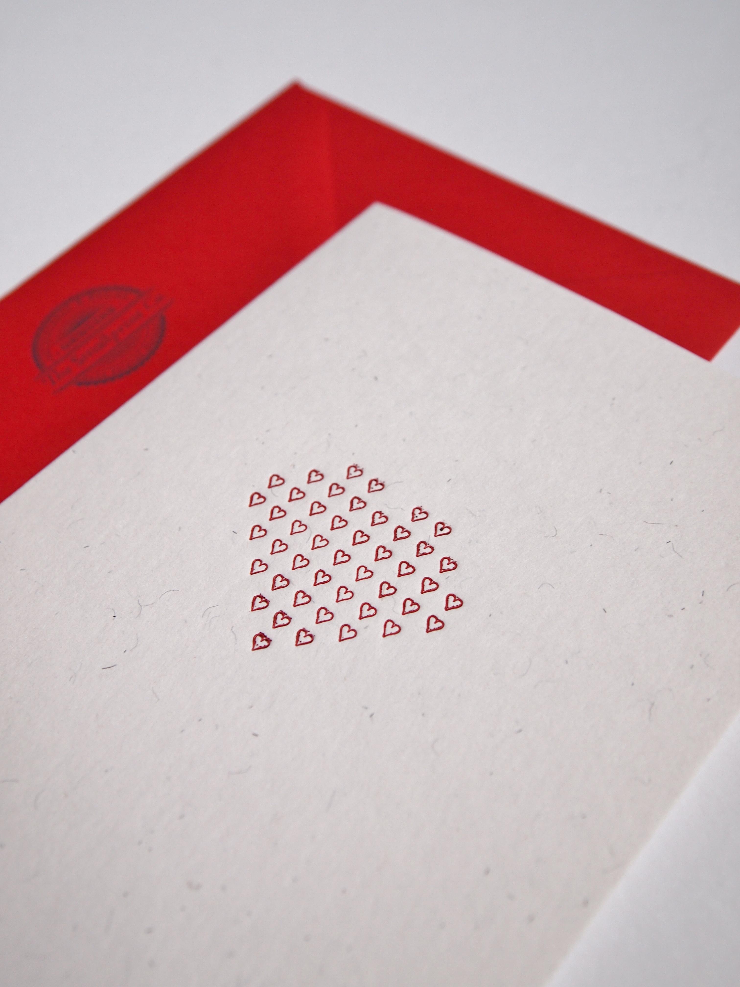 Hearts letterpress card