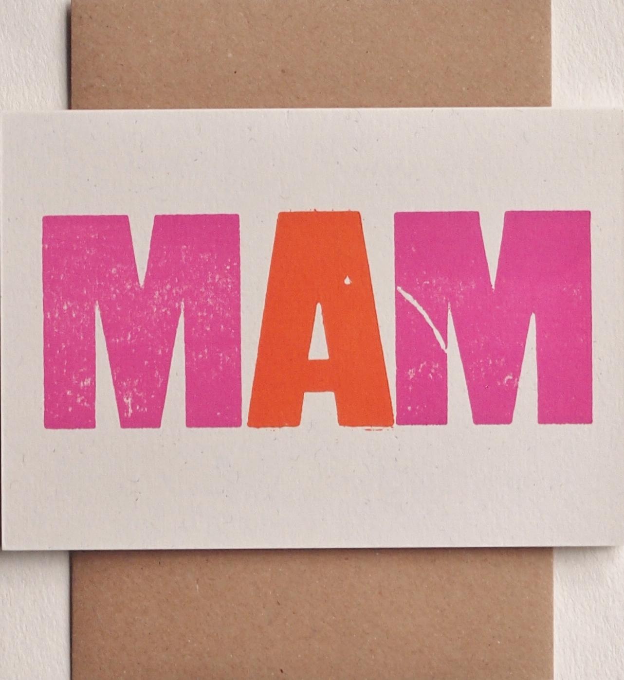 Mam letterpress card