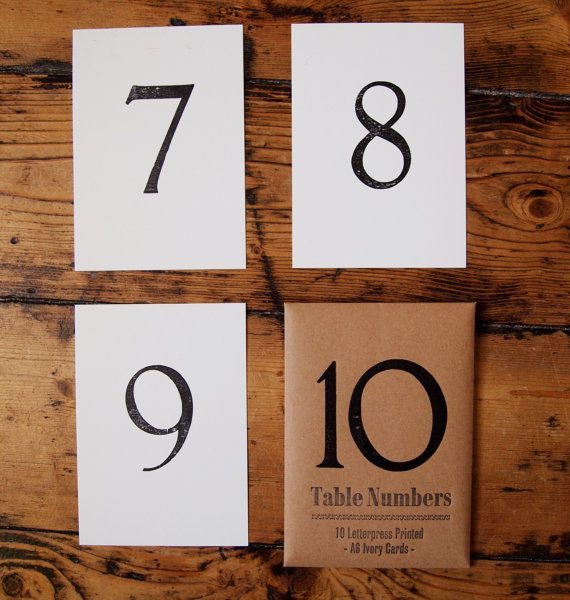 Letterpress Table Numbers
