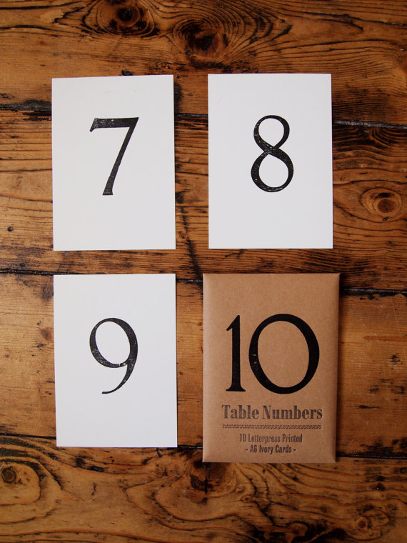 A6 Table Numbers - letterpress