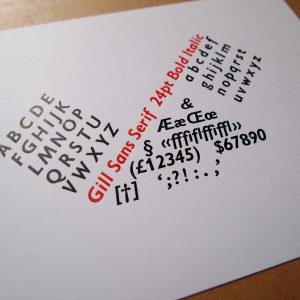 Gill Sans Serif 24pt Bold Italic Print
