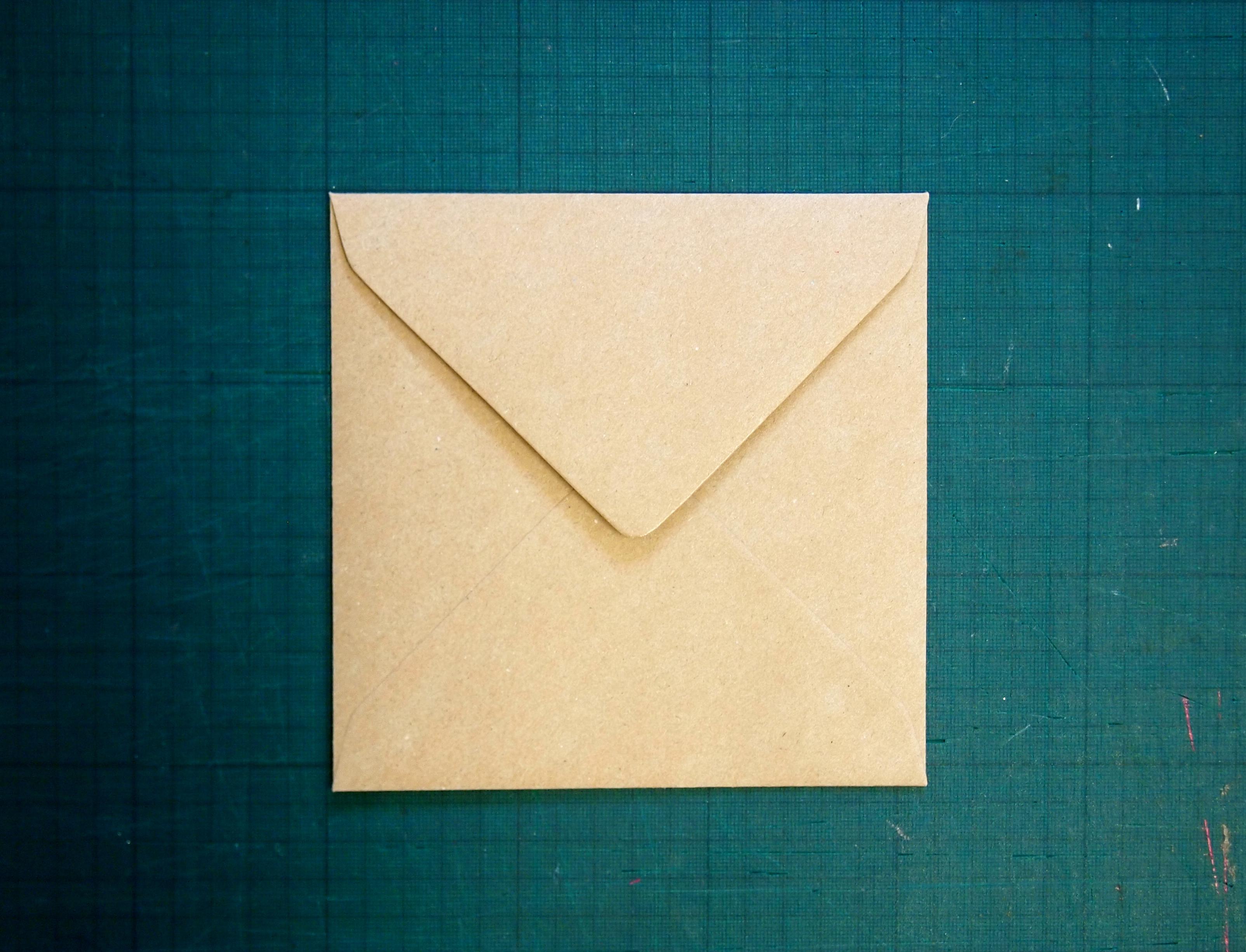 155mm square kraft envelope