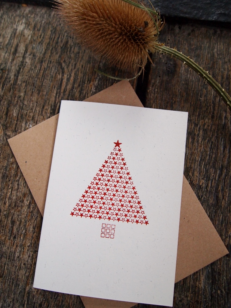 Starry Christmas Tree Card - Red