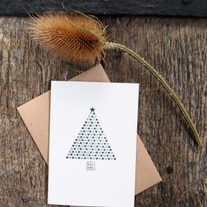 Starry Christmas Tree Card - Green