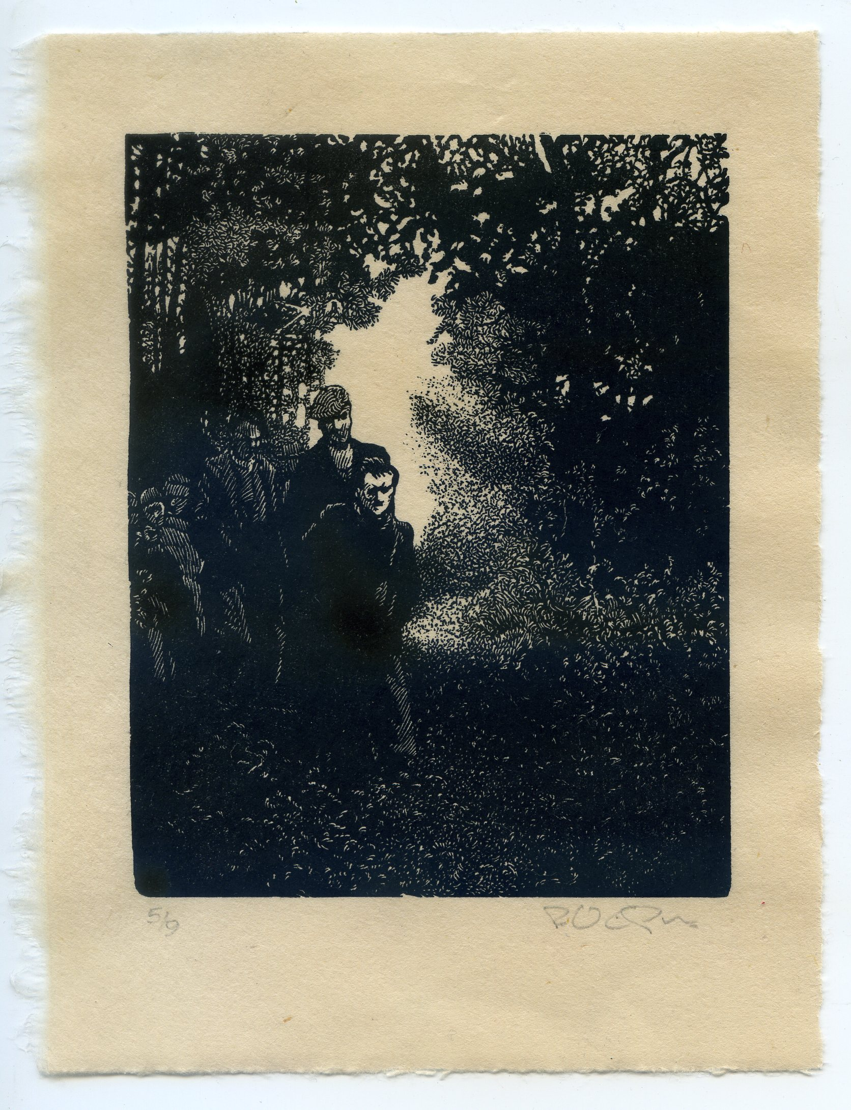 OUT OF THE SHADOWS wood engraving