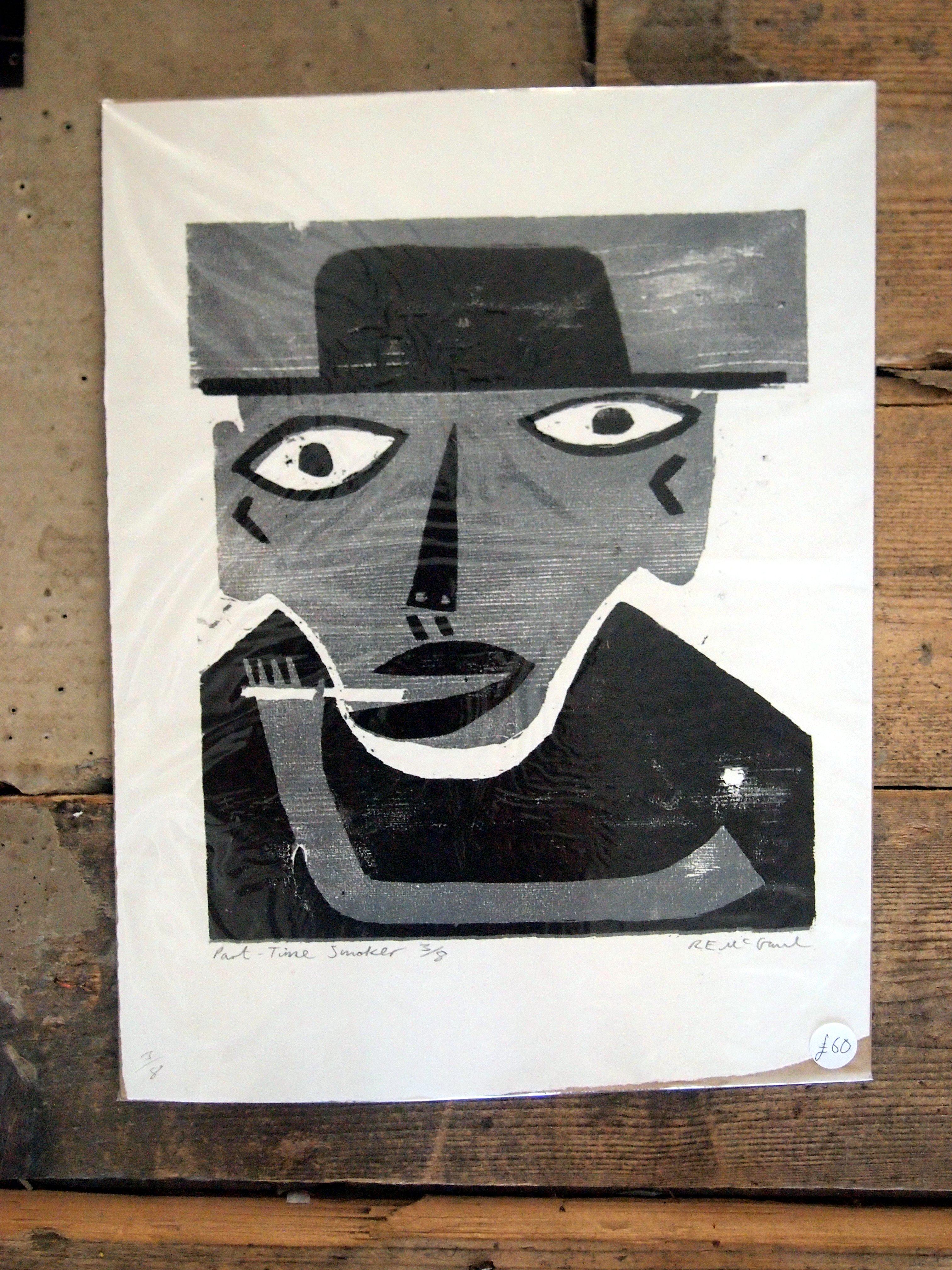 Part Time Smoker by RE McGaul, unframed