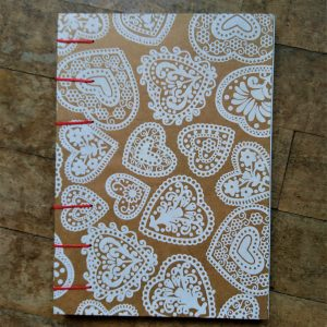 Coptic Binding - Notebook with hearts