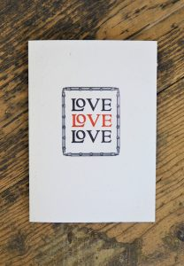 Love Love Love - a letterpress card