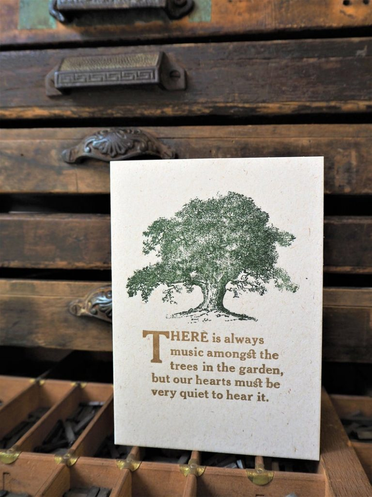 Music Amongst the Trees - letterpress card. Photo by Jemma