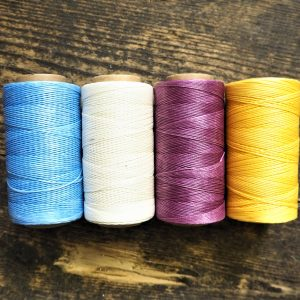Waxed Threads - Sky Blue, Ivory, Aubergine and Sunshine Yellow