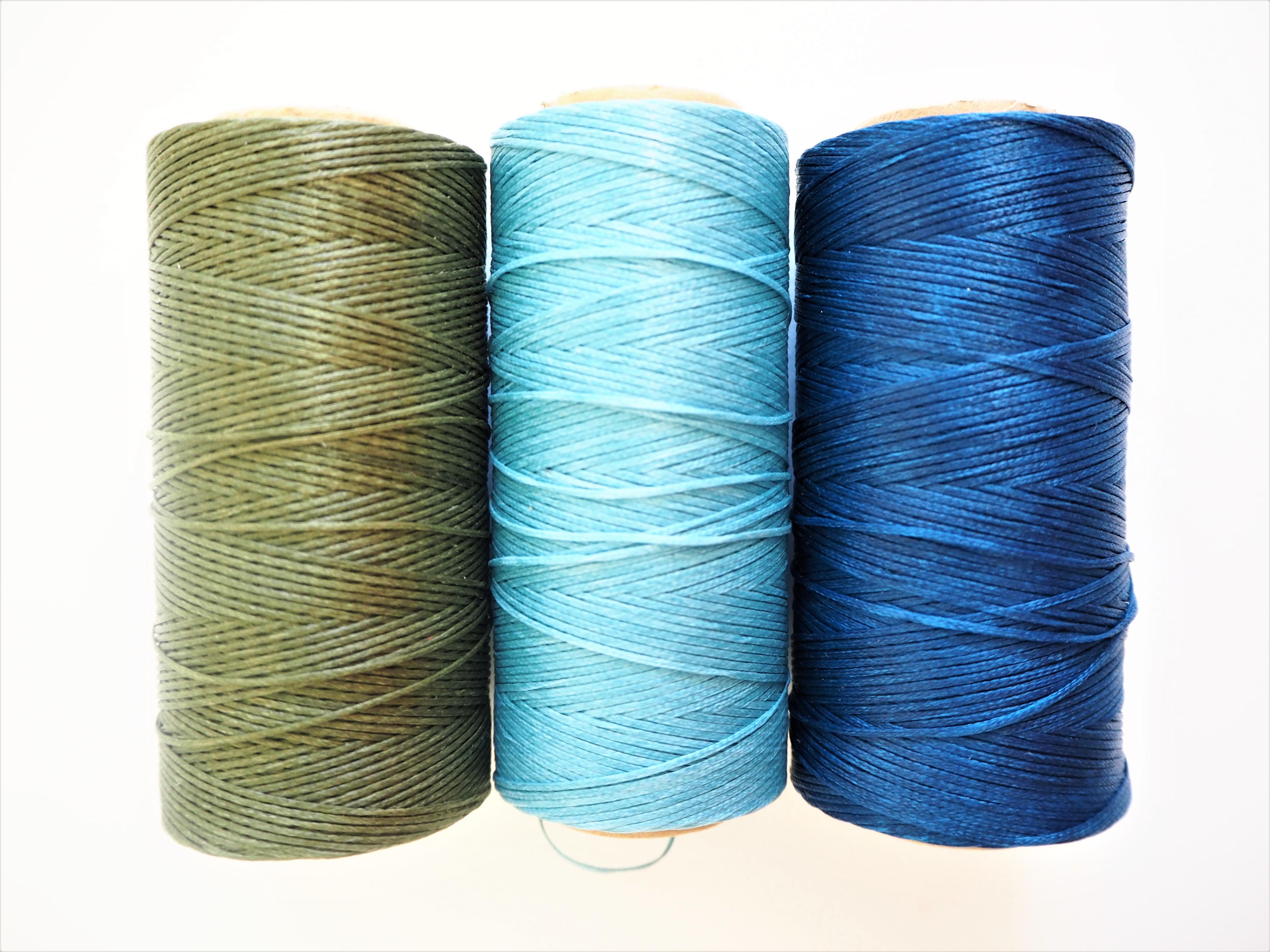 Waxed Bookbinding Thread - Moss Green, Turquoise & Deep Sea Blue