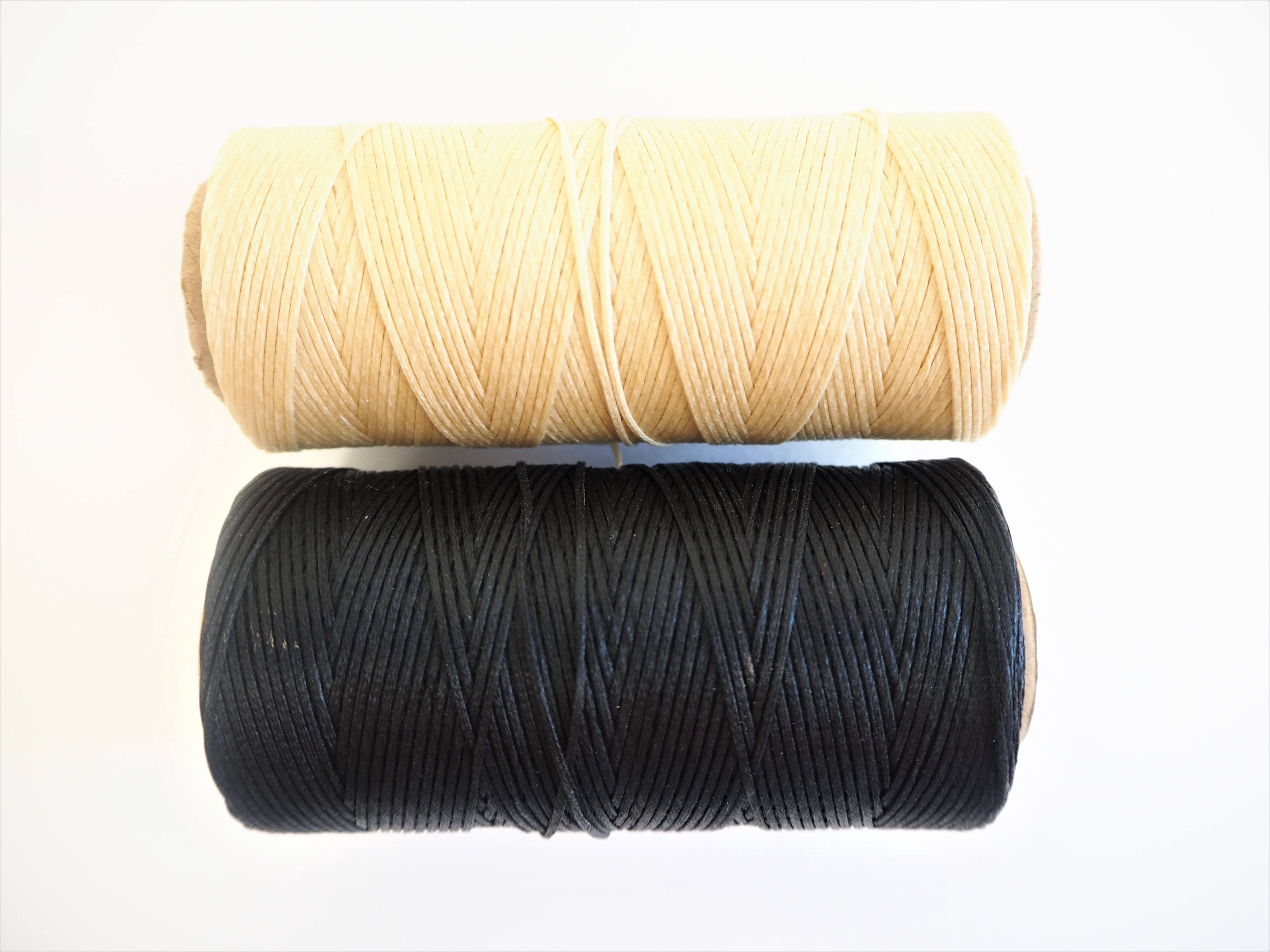 Waxed Bookbinding Thread - Black and Ivory