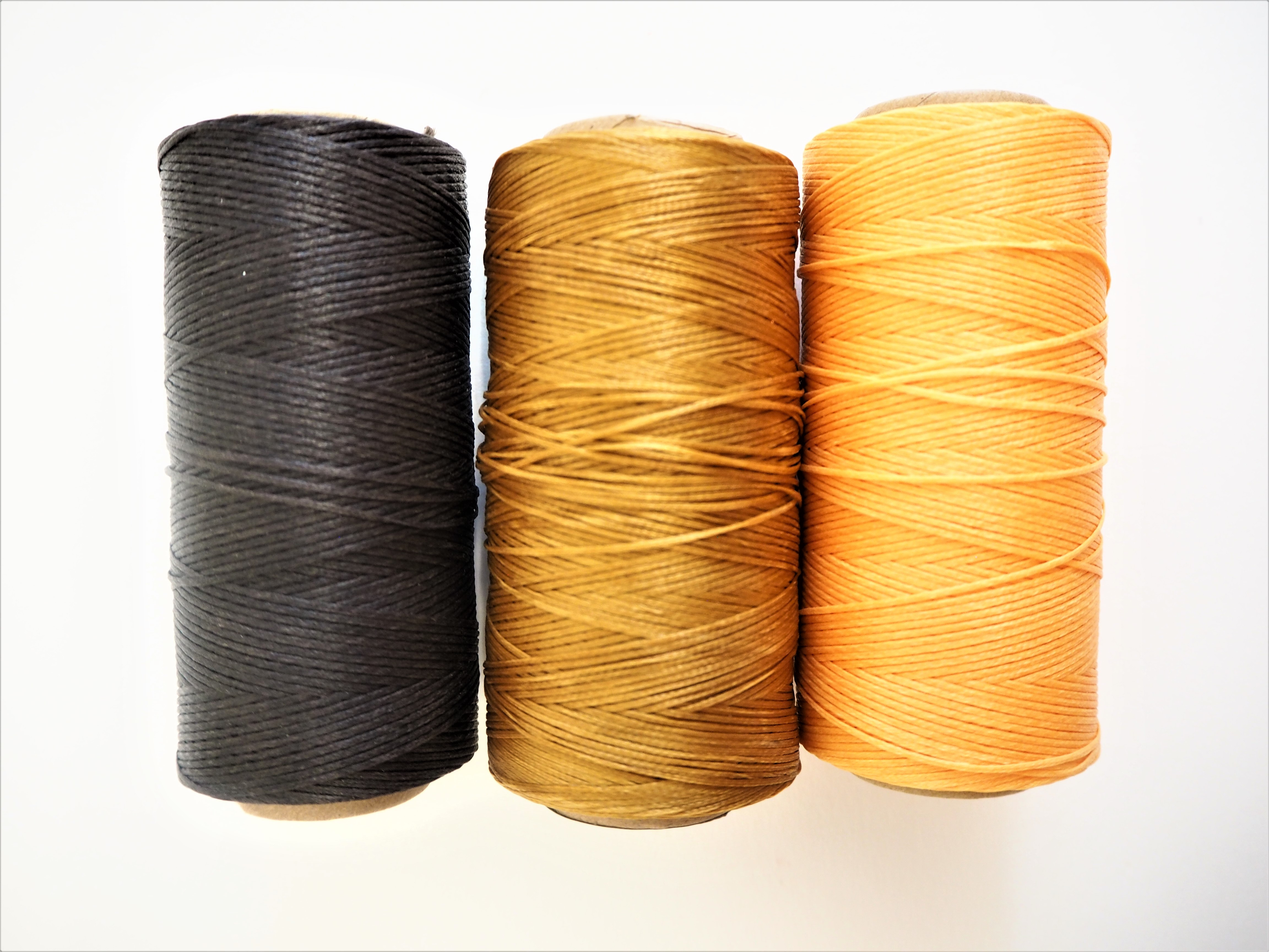 Waxed Bookbinding Thread - Dark Brown, Bronze and Yolk Yellow