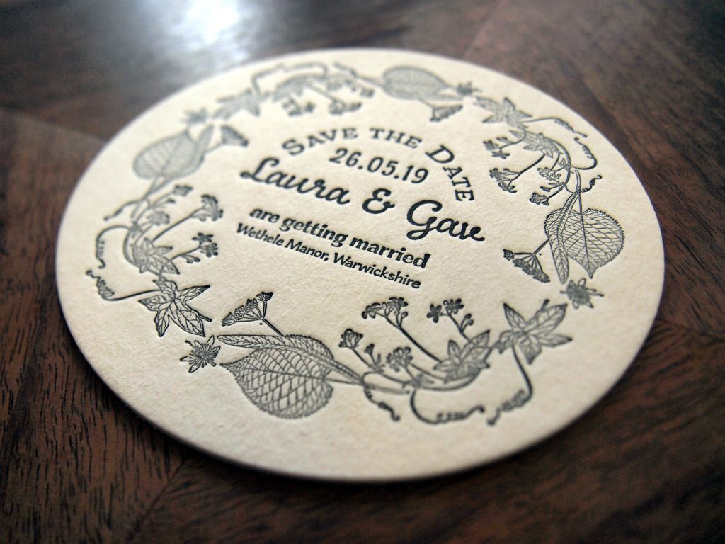 Letterpress Wedding Stationery: Circular Save the Date Coaster