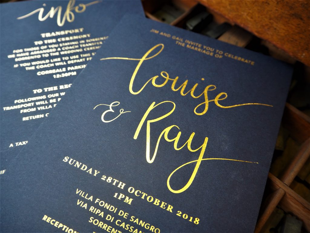 Choosing Colours for Your Wedding Stationery – Deep blue and gold