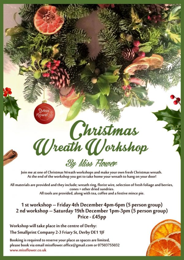 Christmas Wreath Workshop with Miss Flower - details