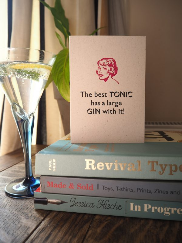 Letterpress Card Gin and Tonic