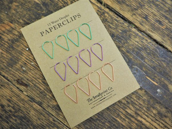 Water Droplet Paperclips x 12