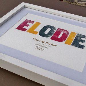 Birth Announcement Letterpress Print - framed