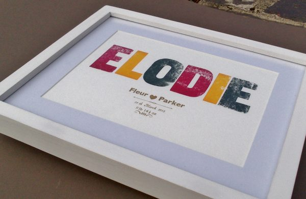 Birth Announcement Letterpress Print - framed