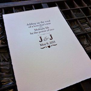 Wedding Vows Custom Letterpress Print