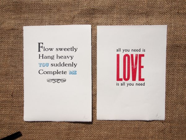 Wedding Vows Letterpress Prints