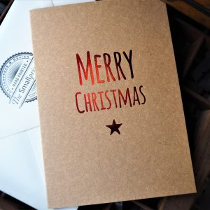 Merry Christmas Christmas Card - Red & Kraft