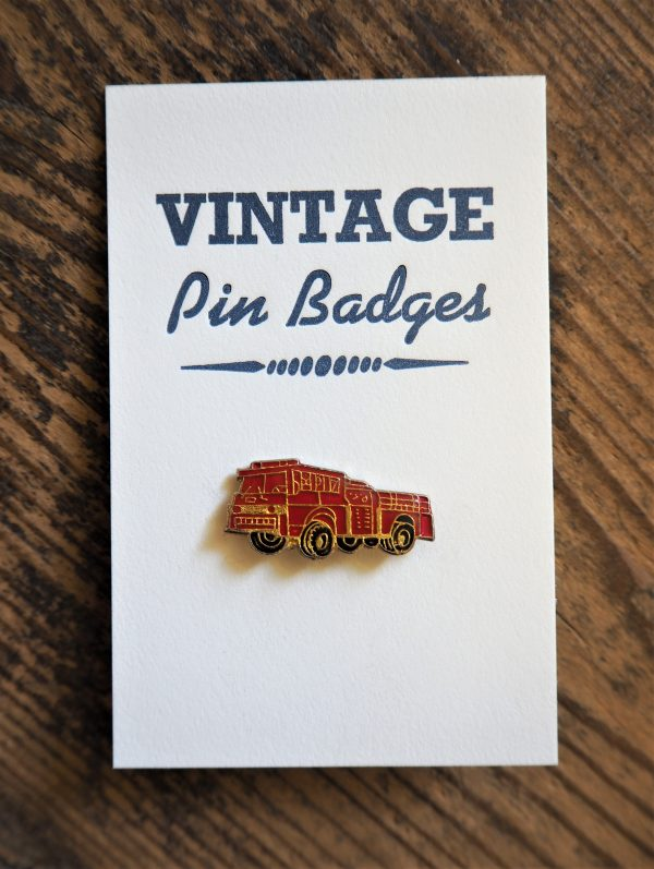 Vintage Enamel Pin Badge - Fire Engine