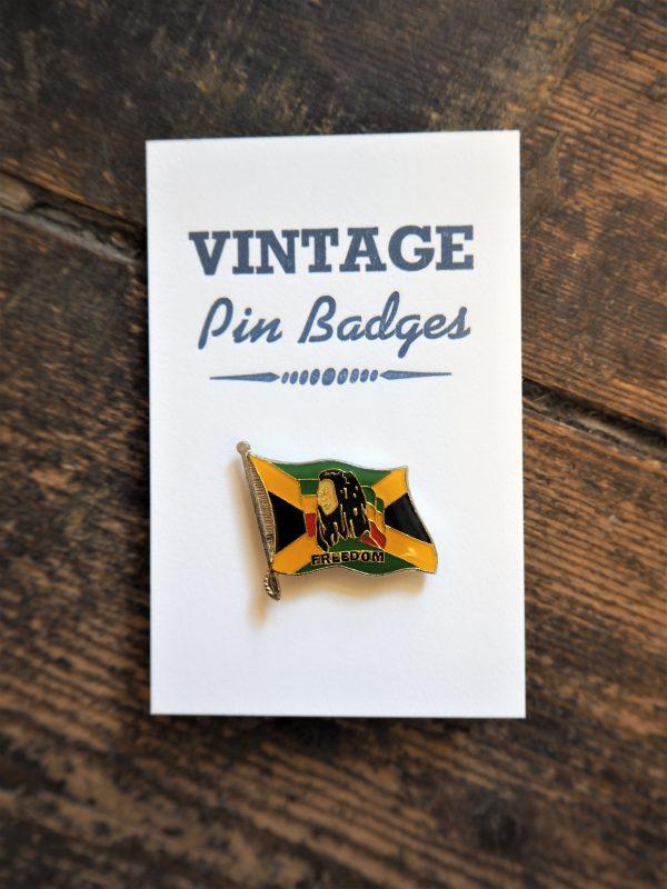 Vintage Enamel Pin Badge - Bob Marley Freedom