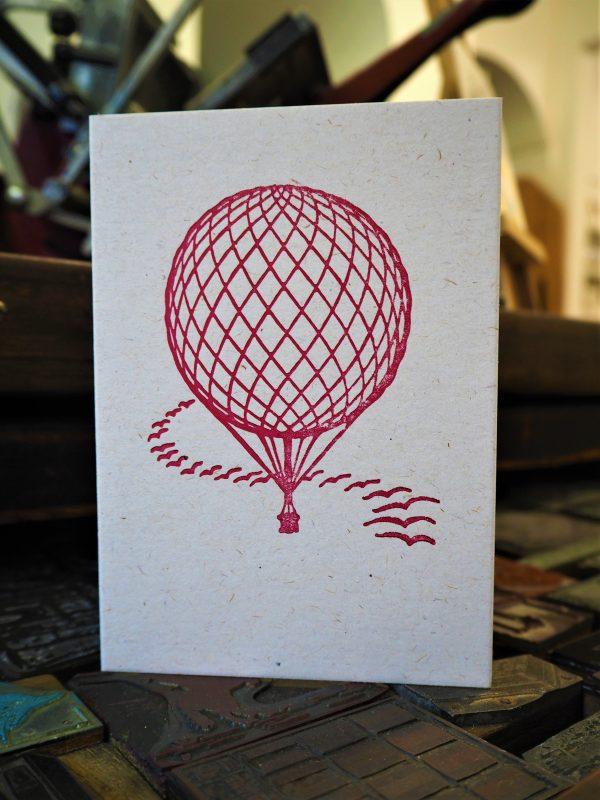 Hot Air Balloon Greetings Card - Pink / Cerise