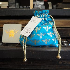 Pouch Gift Bag Medium - blue gold bees