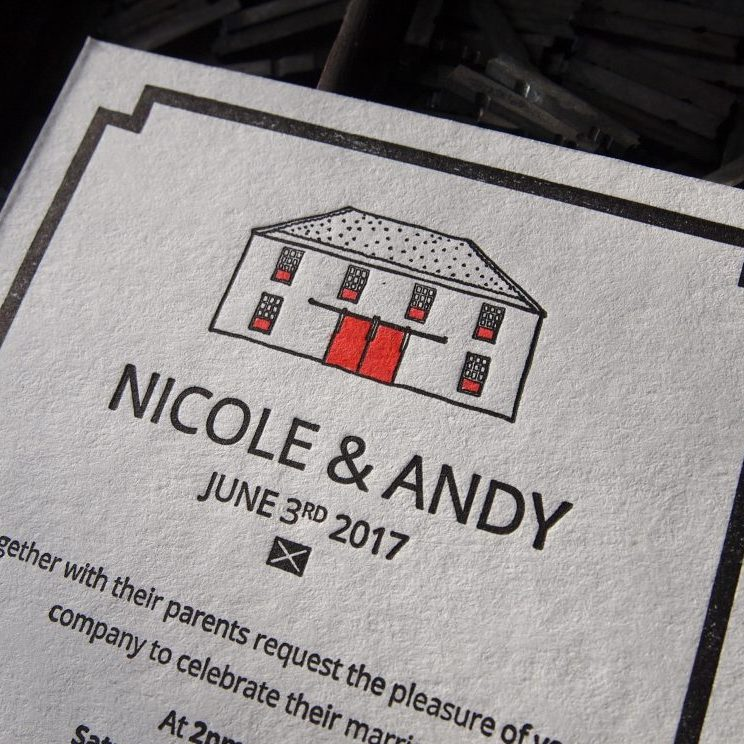 Hand Painted Letterpress Invitations inc. Illustration