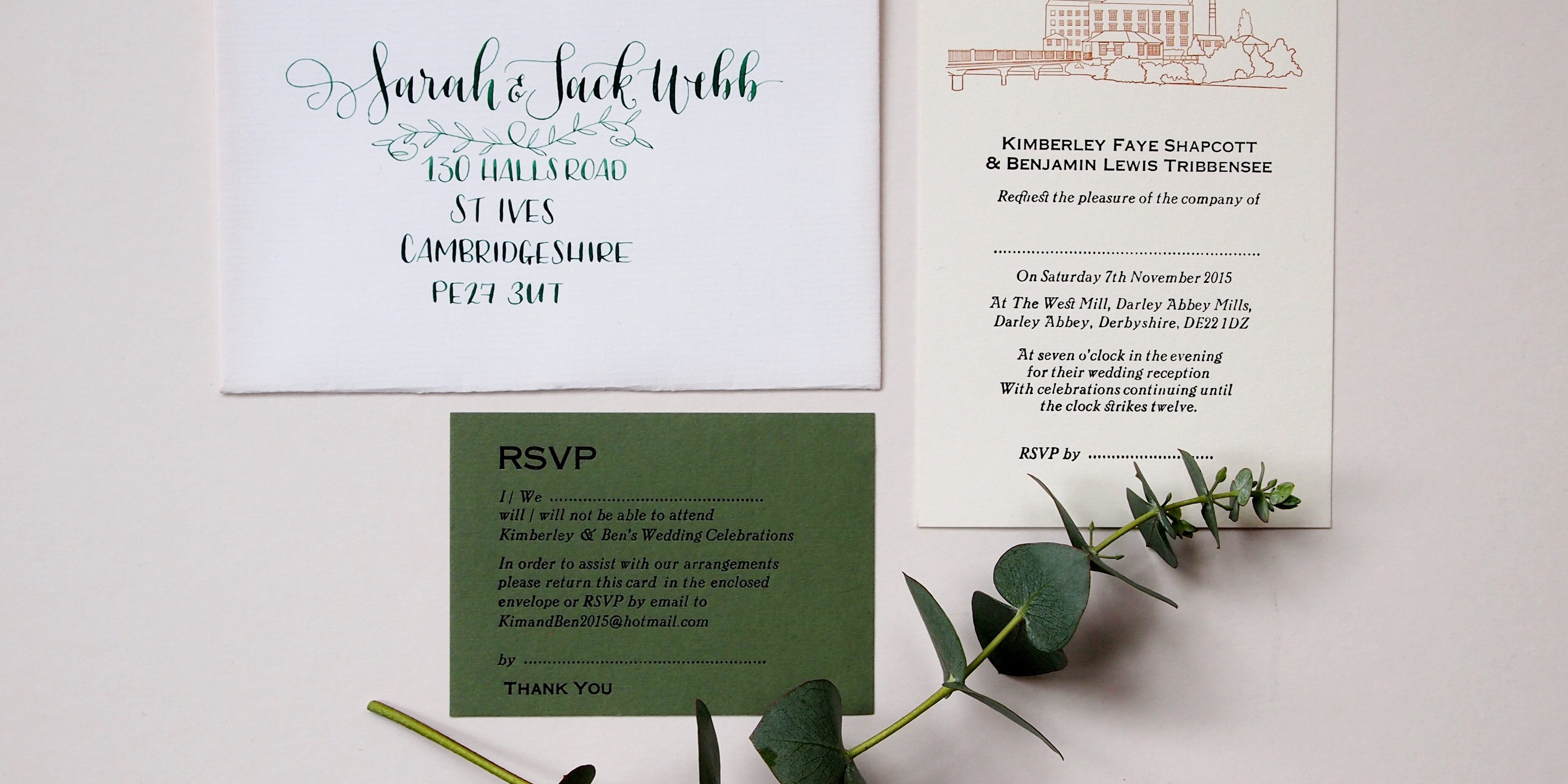 Derby Silk Mill Wedding Suite with Calligraphy